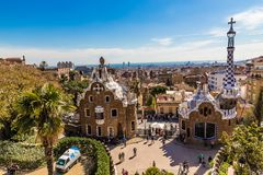 View From Park Guell - Barcelona, Catalonia, Spain. View From Park Guell - Park Guell, Barcelona, Catalonia, Spain, Europe Royalty Free Stock Images