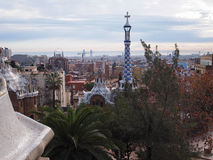 View From Park Guell, Barcelona. One of the most impressive public parks in the world. The park is located in Barcelona and was designed by famous architect Royalty Free Stock Photos
