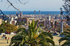View From Park Guell Barcelona, Spain. Park Guell, one of the most imaginative and unusual projects of the Catalan modernist architect Antonio Gaudi, attracts a Royalty Free Stock Photography