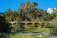 View From Park Guell Barcelona, Spain. Park Guell, one of the most imaginative and unusual projects of the Catalan modernist architect Antonio Gaudi, attracts a Stock Images