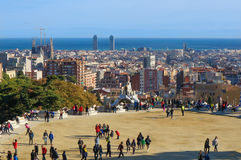 View From Park Guell Barcelona, Spain. Park Guell, one of the most imaginative and unusual projects of the Catalan modernist architect Antonio Gaudi, attracts a stock image
