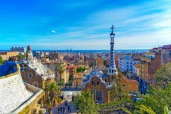 View From Park Guell Barcelona, Spain. Park Guell, one of the most imaginative and unusual projects of the Catalan modernist architect Antonio Gaudi, attracts a royalty free stock photos