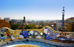A view from the Park Guell, Barcelone, Spain. General view of Barcelone, from the Park Guell (Spain Royalty Free Stock Photography