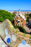 View of Park Guell with mosaic wall, Barcelona, Spain Stock Photography