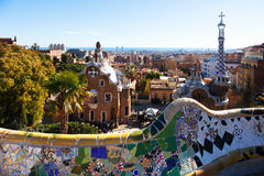View of Park Guell in winter. Barcelona Royalty Free Stock Photography
