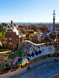 View of Park Guell in winter. Barcelona Stock Photos