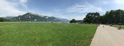Green watercolor, panorama, france, europa, lake, annecy, alps mountains, mountains royalty free stock photography