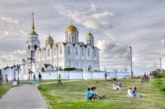 View on a park near Uspensky cathedral, Vladimir city, Russia Stock Images