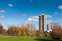 View on park and old Moscow skyskrapers Royalty Free Stock Photos