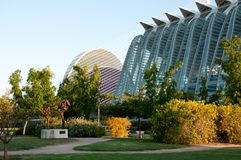 View of park opposite the City of Arts and Sciences of Valencia Royalty Free Stock Image