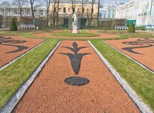 View of park in Pushkin. Decorative flower-bed in park of Pushkin, a famous town near St-Petersburg Stock Photos