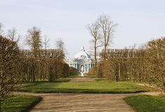 View of park in Pushkin. Alley in park of Pushkin, famous town in Russia Royalty Free Stock Photo
