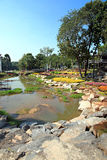 View of park with streams on side. Royalty Free Stock Images