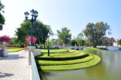 View the park of the Summer palace Bang Pa In. Of the King of Thailand Stock Photo