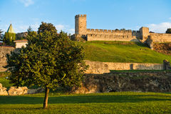 A view from a park to Kalemegdan fortress walls and towers at sunset, Belgrade Royalty Free Stock Photos