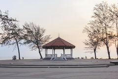 View of the park which have group of people did their activities in morning : Songkhla, southern of Thailand. View of the park which have group of people did Royalty Free Stock Image