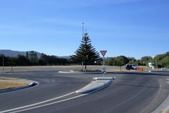 Traffic roundabout in Australian city, Coffs Harbour. Stock Photos