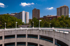 View of parking garage ramp and highrises in Towson, Maryland. Royalty Free Stock Image