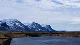View of parking in Iceland. Snow top moutain landscape Royalty Free Stock Photos