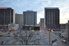 A view of the parking lot. View on the streets of Winnipeg City, Manitoba province, Canada. The photo was taken in November 2013 Royalty Free Stock Photography