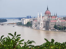 View of Parliament Building is near river Danube. Stock Photo