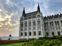 View of the Parliament building at sunset in Budapest Hungary Stock Photos