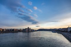 View of parliament at sunset in budapest royalty free stock photos