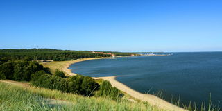 View from the Parnidis dune over Nida and the Curonian Lagoon. Nida. Lithuania Stock Photo