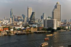View of a part of Bangkok city, at the end afternoon. royalty free stock photography