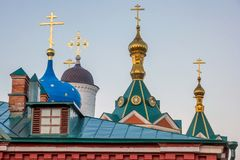 Part of the christianity church with golden crosses on golden domes. View of Part of the christianity church with golden crosses on golden domes stock image