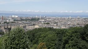 View of part of Edinburgh and seaside from Calton Hill top. View of part of Edinburgh and seaside from top of  Calton Hill stock footage
