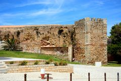 Governors Castle, Lagos, Portugal. View of part of the Governors Castle Castelo dos Governadores with the tower to the right, Lagos, Algarve, Portugal, Europe Stock Photo