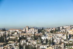 View of part of historical city of Granada, Spain region royalty free stock photo