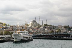 View of part of Istanbul from a tour boat in the Bosphorus Strait royalty free stock image