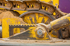 View on part of machine bulldozer track Stock Photography
