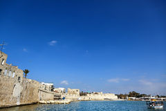 Old Acco Port. A view at part of the port of the old town of Acco (Israel), and the old town's wall Royalty Free Stock Photo