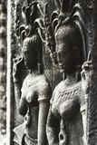 View of a part of a wall in old temple in Angkor wat. Apsara an old Khmer art carvings on the wall in Angkor Wat temple near Siem Reap town, Cambodia Stock Photo