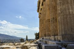 Columns of the parthenon and athens stock images