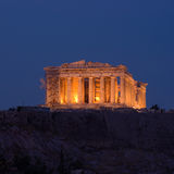 View of Parthenon by night stock photos