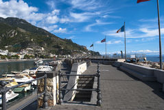 View particular port  Maiori village. From Amalfi coast, Italy Royalty Free Stock Photo