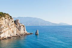 View of Parus (Sail) rock, Ayu-dag coast, Crimea Royalty Free Stock Image