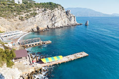 View of Parus (Sail) Rock and beach, Crimea Royalty Free Stock Photos