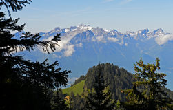 View from the pass Col de Jaman on the Alps. Vaud, Switzerland Stock Images