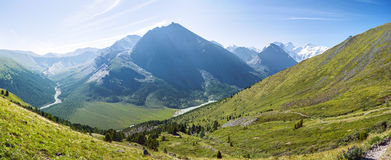 View from the pass Karaturek. Trekking in the Altai Mountains Stock Image