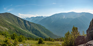 The view from the pass Karaturek. Trekking in the Altai Mountains Royalty Free Stock Photography