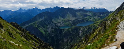 View from the Pass Krzyżne at Five Lakes Valley in Tatras Royalty Free Stock Photography