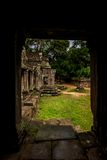 View from passage our into garden of Angkor Wat Royalty Free Stock Photos
