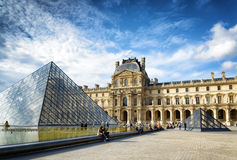 The view of the Passage Richelieu and the Pyramid of the Louvre Royalty Free Stock Photography