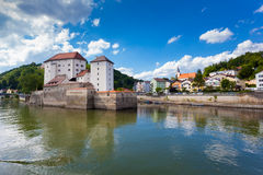 View of Passau, Germany. View of the of Passau, Bavaria, Germany. This is were the Ilz flows into the Danube royalty free stock images