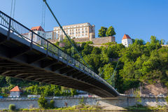 View of Passau, Germany. View of a bridge on the Danube and the fortress Veste Oberhaus: a landmark of Passau, Bavaria, Germany royalty free stock photo
